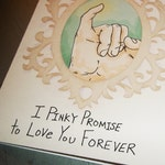 Cute Romantic Love Card Pinky Promise 5x7 Greeting Card Blank inside by Agorables Valentine's Day