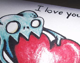 I Love You Monster CRAZY Love Obsession Romantic Card Lover  5x7 Art by Agorables bringing U a Creepy Valentine's Day