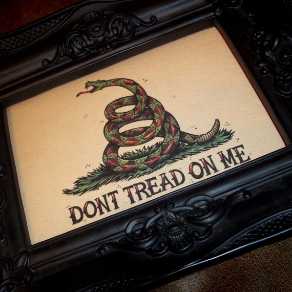 Dont Tread On Me Snake Traditional Tattoo Style Art Etsy