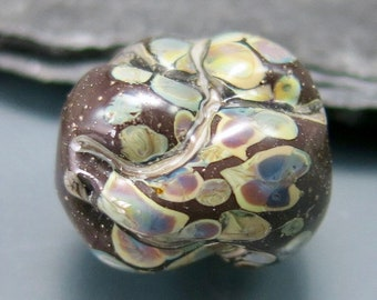 Handmade Lampwork Organic Focal Bead by GlassBeadArt  ... SRA F12 ... 17x16mm  rock shaped freeformed focal