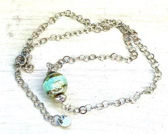 Wishing stone opal necklace, handmade lampwork beads, artisan lampwork, stainless steel, sparkling nuggets, handmade jewelry, christmas