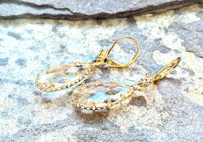 crystal magic gold plated fandom drop earrings dewdrop Earrings handmade elves jewelry zirkon faerie jewelry teardrop cosplay
