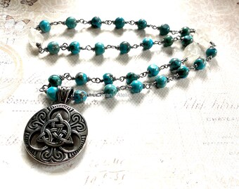 Necklace, Celtic pendant, turquoise, celtic jewelry, Triquetra, cosplay, Outlander inspired, fantasy jewelry, fandom jewelry, handmade
