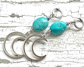 Crescent moon earring pair, turquoise and silver earrings, moon earrings, witchy jewelry, christmas gift, cosplay jewelry, handmade