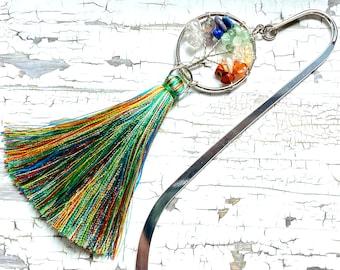 Handmade Tree of Life bookmark, stainless steel bookmark, rainbow, tassel, gemstones, bookish gift, giftsunder20,