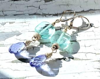 Faceted gemstone  sterling silver earrings, elegant earring pair, leverback, one of a kind, teal, purple, gifts for her, Perpetuafelicitas