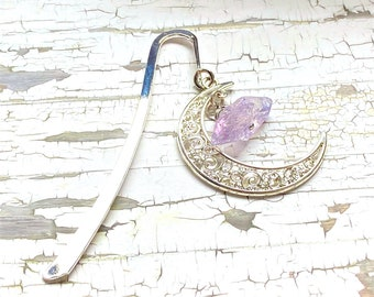 Handmade bookmark, crescent moon, crystal bookmark, bookmark, witchy, bookish gift, giftsunder20