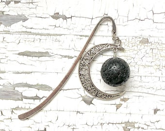 New Moon Bookmark, Dark Side of the Moon bookmark, handmade bookmark, crescent moon and lava stone, witchy, bookish gift, giftsunder20