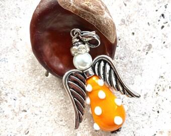 Handmade lampwork Guardian Angel, pendant, angel pendant, lampwork pendant, zipper pull, purse charm, handmade, Perpetua&Felicitas