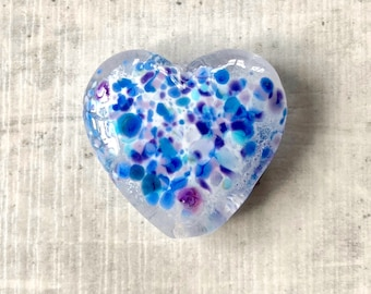 Blue and white heart focal lampwork glass bead, frit and enamel heart, Handmade lampwork glass beads, by GlassBeadArt, SRA F12