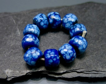 Handmade Lampwork Nugget Beads by GlassBeadArt … Cobalt blue with silverlake ... SRA F12 ... 8x9mm