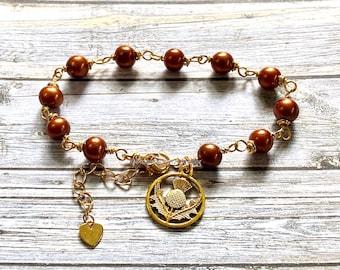 Bracelet, pearl bracelet, Thistle, Outlander jewelry, Outlander inspired, gold plated, fantasy jewelry, fandom jewelry, handmade