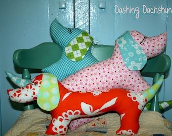 Instant Download Dashing Dachshund Dog Plush Pattern Pillow DIY Sewing Tutorial
