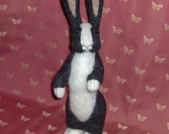 needle felted rabbit,dutch bunny,felt,felted,rabbit,needle felted rabbit,OOAK rabbit,black and white rabbit,wool,Easter bunny