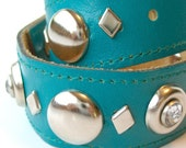 Dog Collar - Size S - Turquoise Leather with Silver Accents
