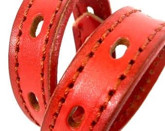 Coral Leather Dog Collar | Small Dog Collar | Made in USA Seattle | Recycled Belt | Bright Collar | Little Collar | Eco-Friendly Leather