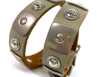 Taupe Leather Dog Collar with Studs | Medium Dog Collar | To fit a 15-19 in Neck | Made in USA Seattle | Recycled Belt | Studded Collar