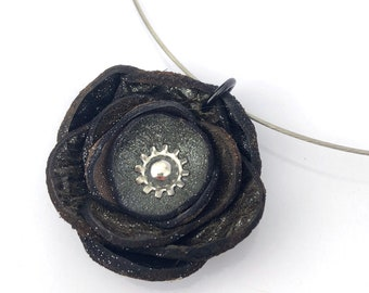 Gray & Black Shimmer Leather Poppy Flower Wire Necklace Eco Friendly Handmade in Seattle by Greenbelts OOAK