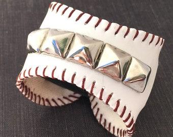 Leather Baseball Cuff Bracelet Wristband with Silver Studs EcoFriendly Reclaimed Leather Unisex Sports Fan Adjustable Seattle Handmade OOAK