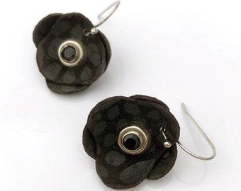 Black Leather Flower Earrings | Lotus Flower | Gift for Her | Lightweight Drop Earrings | EcoFriendly Leather | Unique Jewelry OOAK