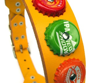 EcoDog Collar - Colorful Microbrew Bottle Caps on Bright Yellow Reclaimed Leather - Size L - OOAK