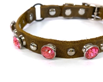 Matte Brown Leather Cat Collar with Silver Studs & Giant Hot Pink Crystals, Size to fit a 8-10in Neck, Eco-Friendly, Reclaimed Leather, OOAK