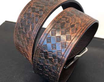 Rustic Tooled Leather Dog Collar, Custom Size To Fit Your Dog, Eco-Friendly Recycled Belt Leather Collar, Seattle Handmade, OOAK