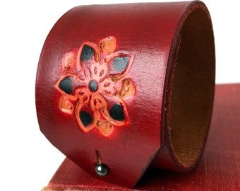 Blood Red Flower Tooled Leather Cuff Bracelet Armband, Adjustable Closure, Eco Friendly, Leather Wristband, USA Seattle Handmade, OOAK