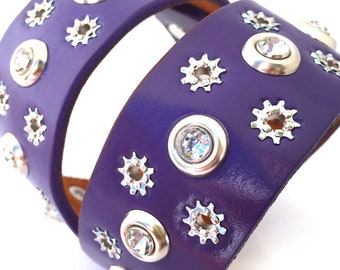 Wide Purple Leather Dog Collar with Gems and Stars, Size L to fit a 18-21in Neck, Large Dog, Unique Pet Accessories, Fluffy Dog Collar, OOAK