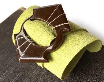 Chocolate Mint Leather Wrap Cuff Bracelet with Vintage Bakelite Buckle, EcoFriendly, Adjustable Size, Wristband, Armband, Seattle Handmade