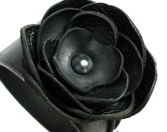 Leather Cuff Bracelet with Black Lotus Flower, Eco-Friendly, Women, Teen Girl, Corsage, OOAK, by Greenbelts