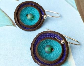 Tiny Blue Poppy Flower Leather Earrings, Women, Teen Girl, Eco-Friendly Reclaimed Leather Dangle Drop Earrings, Unique, OOAK
