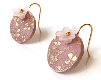 Pale Pink and Metallic Gold Flower Leather Earrings, Women, Girl, Eco-Friendly, Recycled Belt Leather, Made in USA Seattle Handmade, OOAK