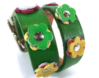 Colorful Flower Leather Dog Collar, Size Small to fit a 11-14 inch Neck, Green Collar with Flowers, Unique Dog Collar, Made in USA, OOAK
