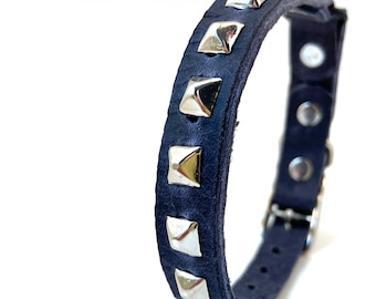 Matte Blue Leather Cat Collar with Silver Studs, Size to fit a 8-10in Neck, Eco-Friendly, Reclaimed Leather, Studded Cat Collar, OOAK
