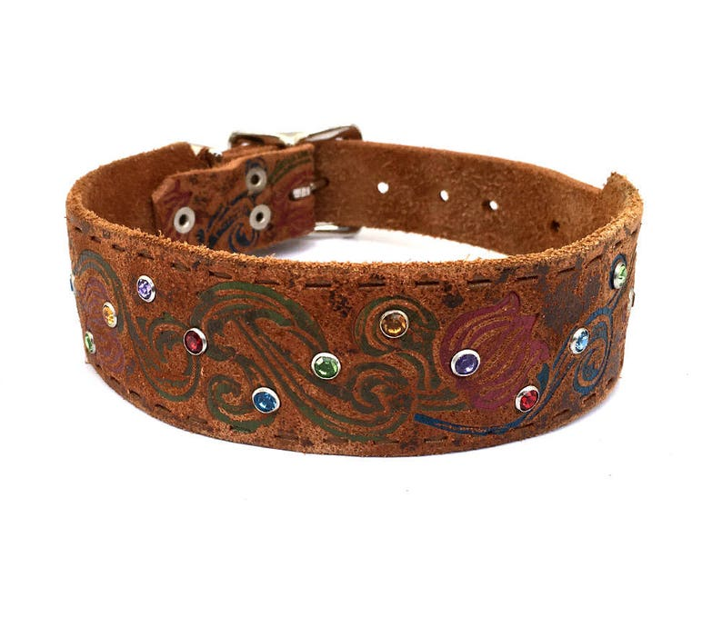 EcoFriendly Leather Belt Collar to fit a 11-14in Neck Size S Small Dog Flower Etched Leather Dog Collar with Rhinestone Sprinkles OOAK