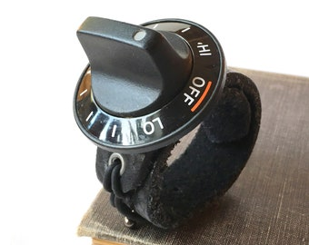 Black Leather Bracelet Cuff Wristband with Vintage Oven Knob, Retro Cooking, Funny, Kitsch, Seattle Handmade, Adjustable Size, OOAK