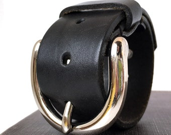 Black Leather Cuff Mini-Belt Bracelet Wristband with Rustic Silver Moon Shape Buckle, Adjustable, EcoFriendly, Leather Armband, OOAK