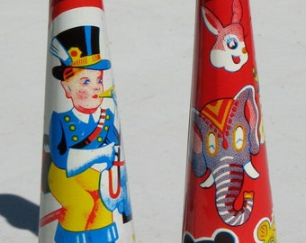 Tin Toys Antique Litho Horns Noise Makers Signed Original Collectable Mid Century Set 2 Clowns New Year's Party Hoopala 1950s Unique Unusual