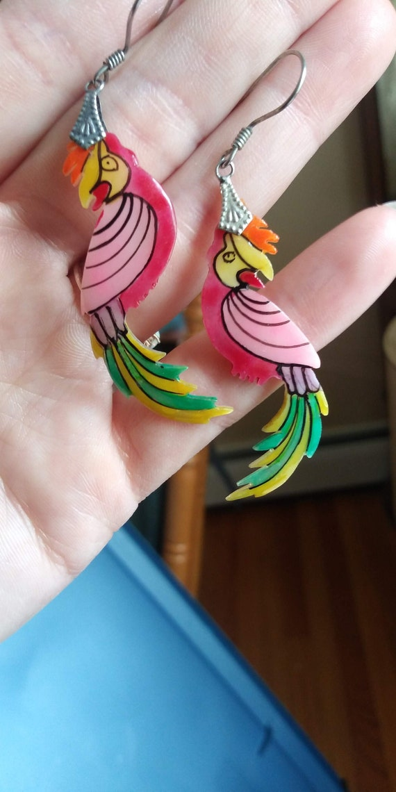 Nice Hand Painted Rainbow Cowrie Shell Earrings Set