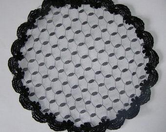 Black Tulle Doily Head Covering | Doily Kippah | Bat Mitzvah Kippah | Chapel Cap Headcovering | Lace Kippot | Venise Lace Trim | Prayer Cap
