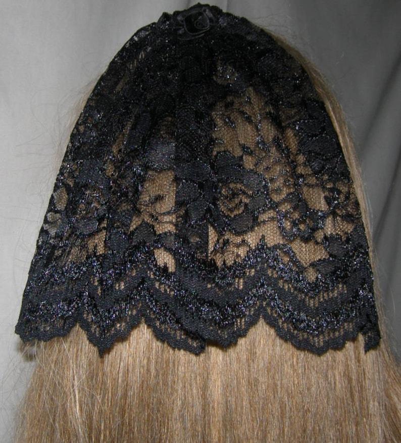0b2d8e4d221 Black Floral Bat Mitzvah Head Covering Lace Kippah Hair