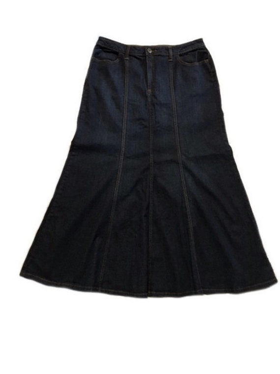 LONG DENIM SKIRT | Vintage Ladies Maxi Flared Ston
