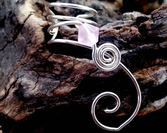 Ear Cuff Pink Frost Crystal No Piercing, Valentine, Valentines Day Jewelry Ear Climber, Ear Vine, Elven Ear Cuff