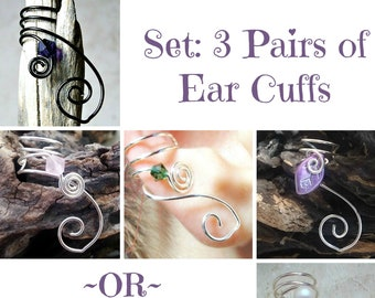 Set of 3 Pairs Ear Cuffs Custom Colors, No Piercing, Jewelry Gift Set, Bridesmaids