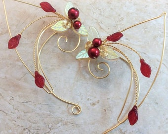 Red Gold Elf Ear Cuff Wraps Elven Ear Cuffs  Fairy Jewelry, Single or Pair