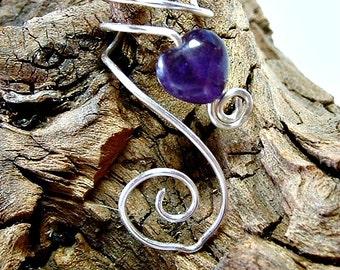 Amethyst Celtic Heart Ear Cuff, No Piercing, Fairy Jewelry, Fantasy Vine Wrap, Ear Climber, Valentines Day Gift Idea, Bridal Ear Cuff
