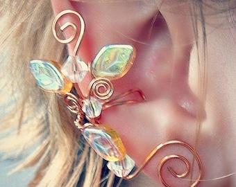 Golden Crystal Ear Cuff Climber No Piercing, Lothlorien Fantasy Boho Elven Woodland Ear Cuff
