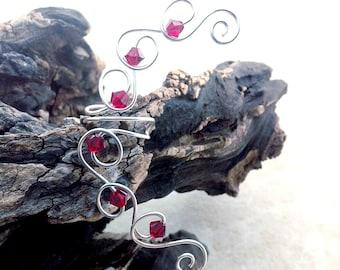Ruby Red Crystal Ear Cuff Ear Climber, Boho Wedding Ear Wrap, No Piercing Required, Valentine Wedding, Bridal Ear Cuff
