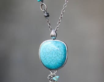 Turquoise necklace in silver bezel setting and silver leaf silver chain with turquoise beads secondary on sterling silver oxidized chain